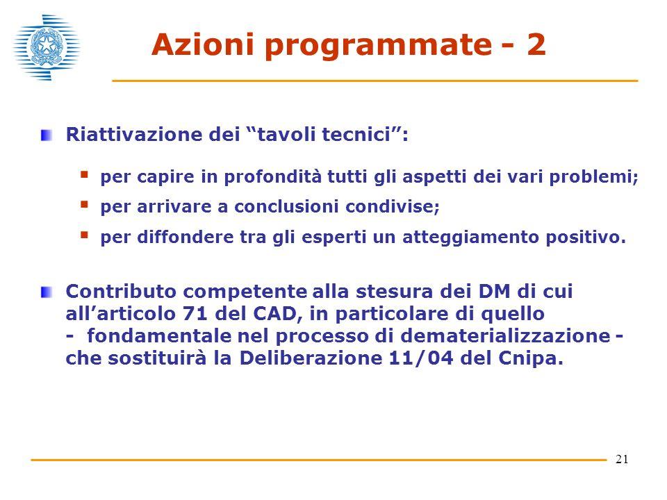 21 Azioni programmate - 2 Riattivazione dei tavoli tecnici: per capire in profondità tutti gli aspetti dei vari problemi; per arrivare a conclusioni condivise; per diffondere tra gli esperti un atteggiamento positivo.