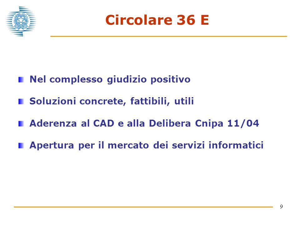 9 Circolare 36 E Nel complesso giudizio positivo Soluzioni concrete, fattibili, utili Aderenza al CAD e alla Delibera Cnipa 11/04 Apertura per il mercato dei servizi informatici