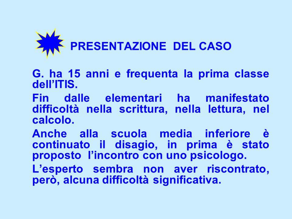 PRESENTAZIONE DEL CASO G.ha 15 anni e frequenta la prima classe dellITIS.