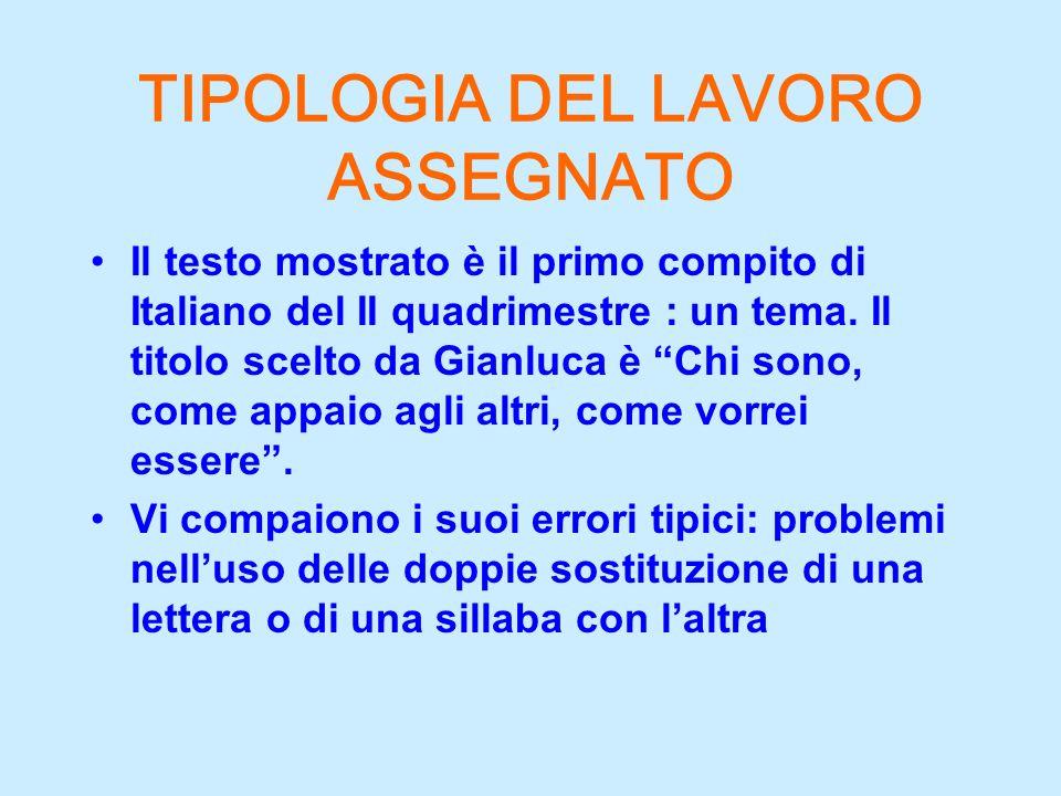 TIPOLOGIA DEL LAVORO ASSEGNATO Il testo mostrato è il primo compito di Italiano del II quadrimestre : un tema. Il titolo scelto da Gianluca è Chi sono