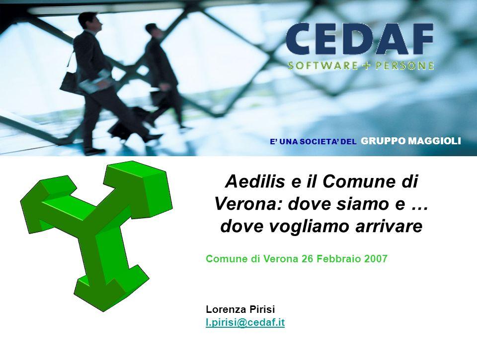 Aedilis e il Comune di Verona: dove siamo e … dove vogliamo arrivare Comune di Verona 26 Febbraio 2007 Lorenza Pirisi l.pirisi@cedaf.it l.pirisi@cedaf