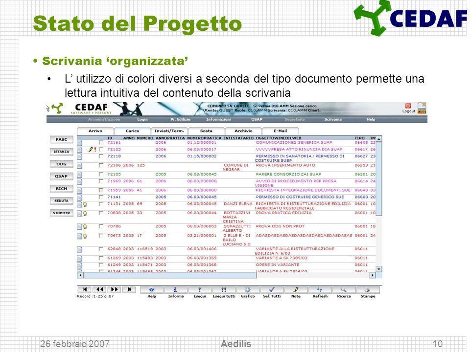 26 febbraio 2007 Aedilis10 Stato del Progetto Scrivania organizzata L utilizzo di colori diversi a seconda del tipo documento permette una lettura int