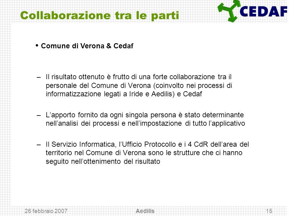 26 febbraio 2007 Aedilis15 Collaborazione tra le parti –Il risultato ottenuto è frutto di una forte collaborazione tra il personale del Comune di Vero