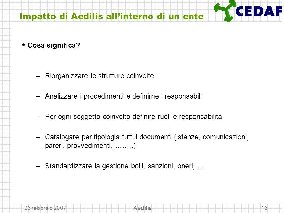 26 febbraio 2007 Aedilis16 Impatto di Aedilis allinterno di un ente Cosa significa? –Riorganizzare le strutture coinvolte –Analizzare i procedimenti e