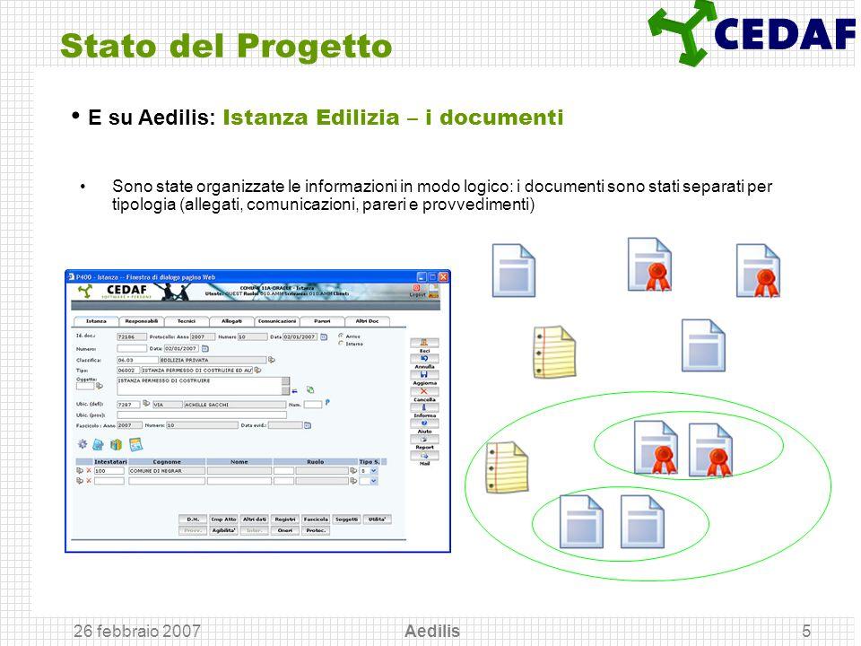 26 febbraio 2007 Aedilis5 Stato del Progetto Sono state organizzate le informazioni in modo logico: i documenti sono stati separati per tipologia (all