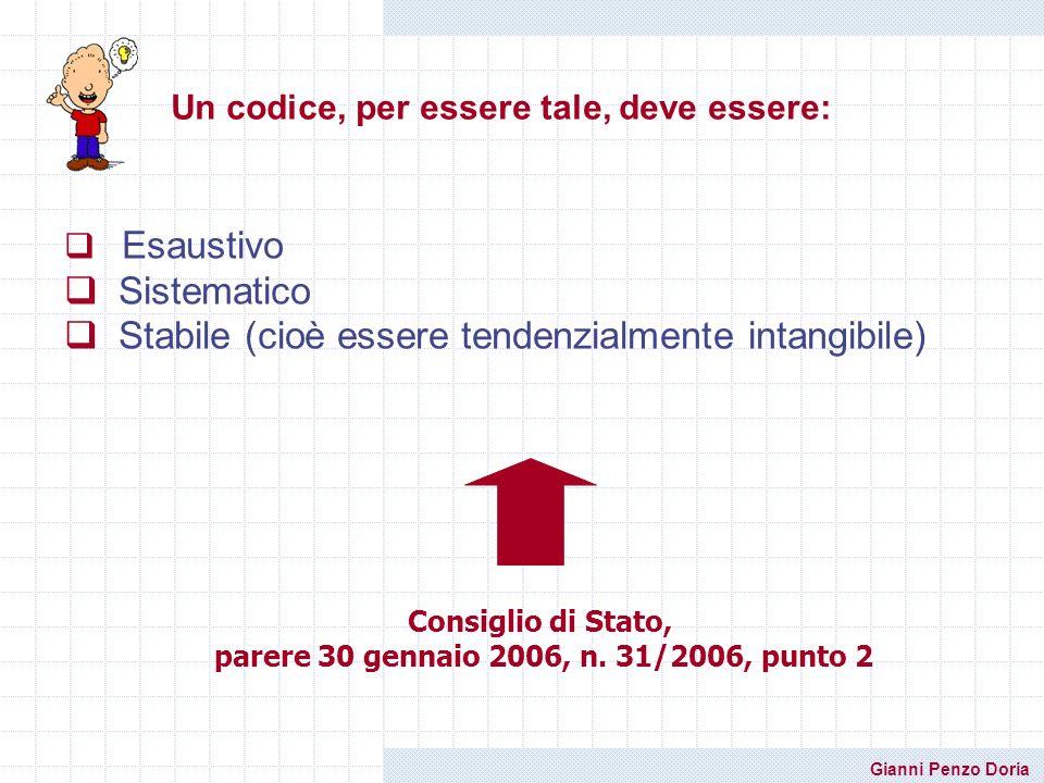 Gianni Penzo Doria Un codice, per essere tale, deve essere: Esaustivo Sistematico Stabile (cioè essere tendenzialmente intangibile) Consiglio di Stato