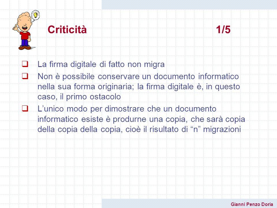 Gianni Penzo Doria Criticità 1/5 La firma digitale di fatto non migra Non è possibile conservare un documento informatico nella sua forma originaria;