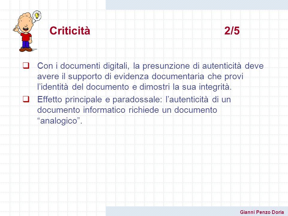 Gianni Penzo Doria Con i documenti digitali, la presunzione di autenticità deve avere il supporto di evidenza documentaria che provi lidentità del doc