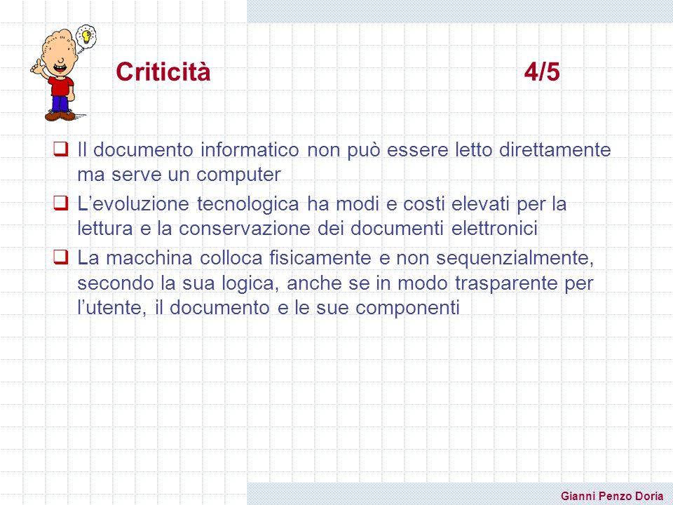 Gianni Penzo Doria Il documento informatico non può essere letto direttamente ma serve un computer Levoluzione tecnologica ha modi e costi elevati per