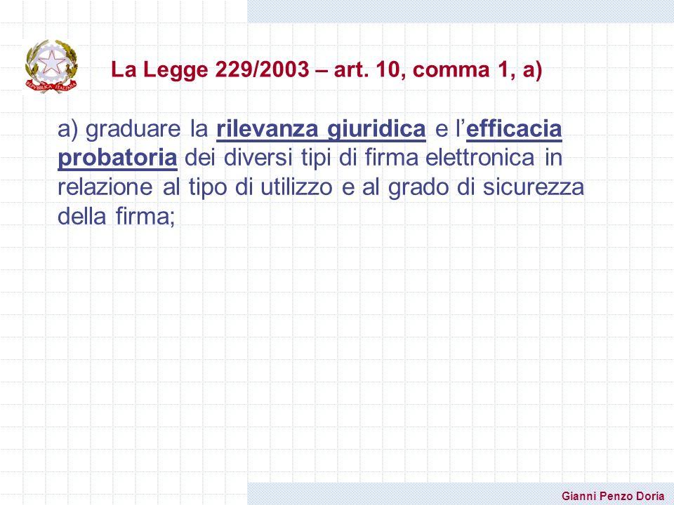 Gianni Penzo Doria a) graduare la rilevanza giuridica e lefficacia probatoria dei diversi tipi di firma elettronica in relazione al tipo di utilizzo e