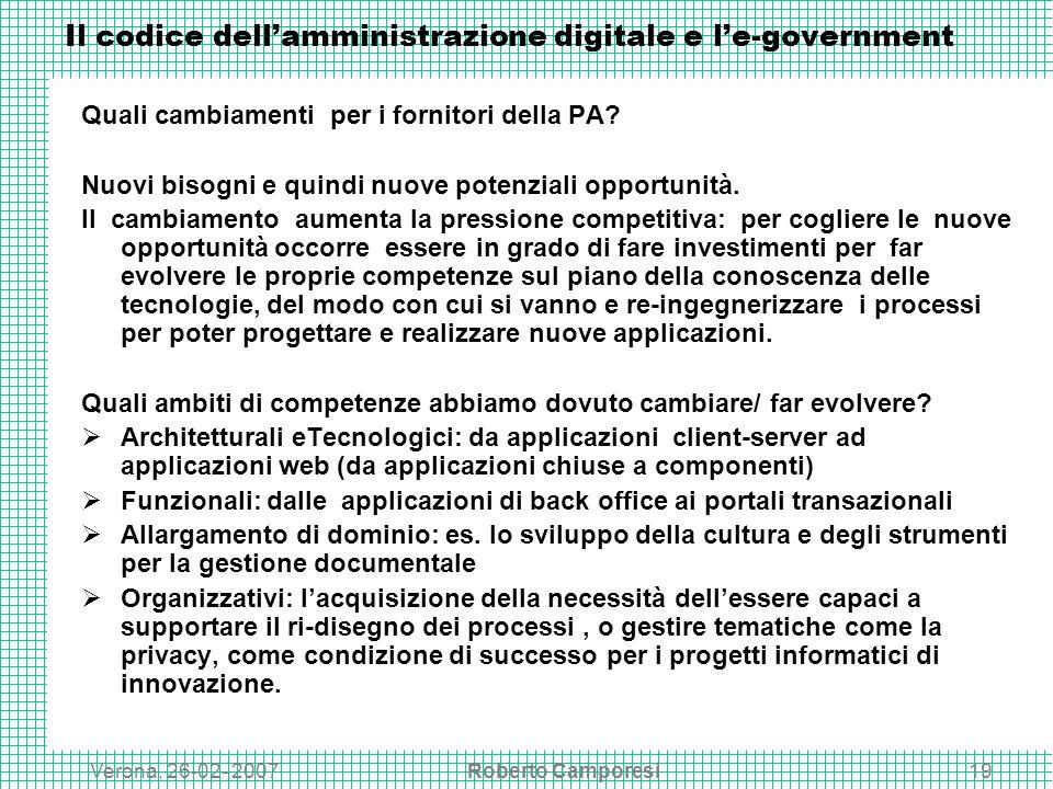 Verona, 26-02- 2007Roberto Camporesi19 Il codice dellamministrazione digitale e le-government Quali cambiamenti per i fornitori della PA.