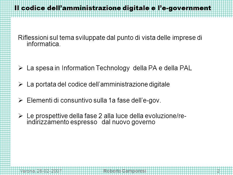 Verona, 26-02- 2007Roberto Camporesi2 Il codice dellamministrazione digitale e le-government Riflessioni sul tema sviluppate dal punto di vista delle imprese di informatica.