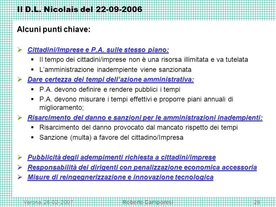 Verona, 26-02- 2007Roberto Camporesi26 Il D.L.