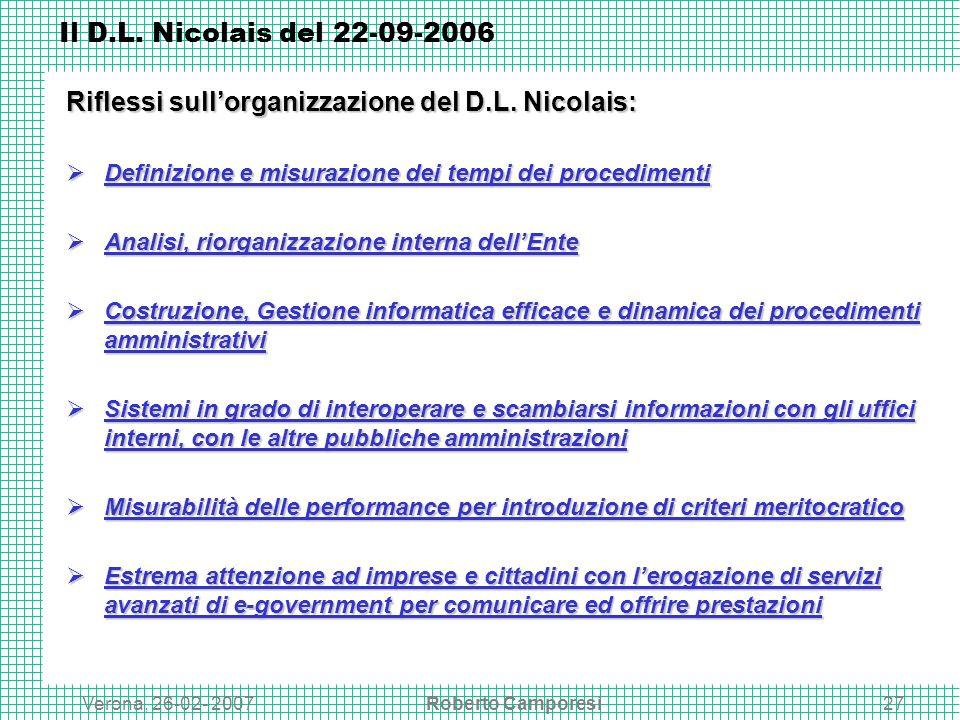 Verona, 26-02- 2007Roberto Camporesi27 Il D.L.