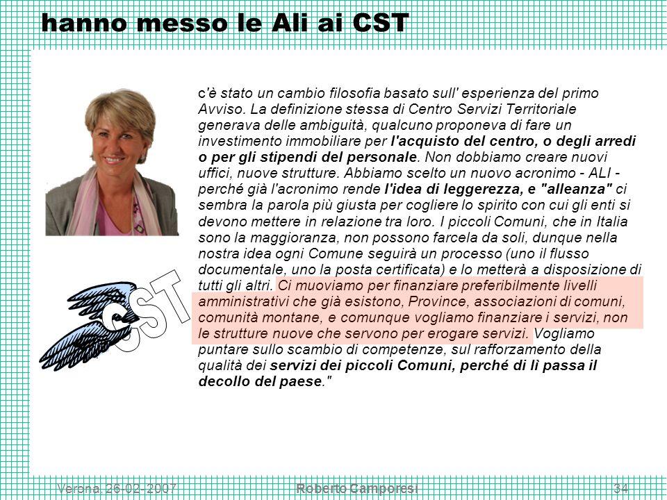 Verona, 26-02- 2007Roberto Camporesi34 hanno messo le Ali ai CST c è stato un cambio filosofia basato sull esperienza del primo Avviso.