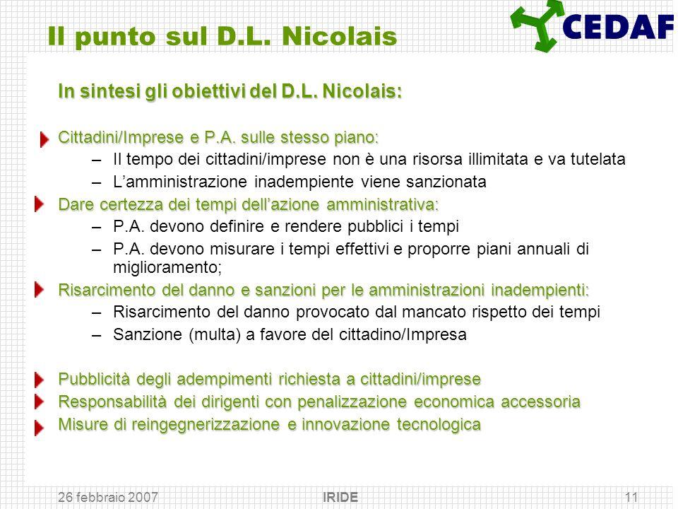 26 febbraio 2007 IRIDE11 Il punto sul D.L. Nicolais In sintesi gli obiettivi del D.L. Nicolais: Cittadini/Imprese e P.A. sulle stesso piano: –Il tempo