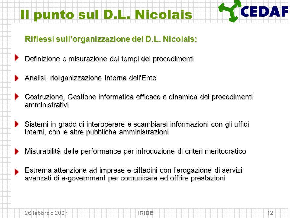 26 febbraio 2007 IRIDE12 Il punto sul D.L. Nicolais Riflessi sullorganizzazione del D.L. Nicolais: Definizione e misurazione dei tempi dei procediment