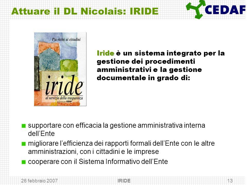 26 febbraio 2007 IRIDE13 Attuare il DL Nicolais: IRIDE supportare con efficacia la gestione amministrativa interna dellEnte migliorare lefficienza dei