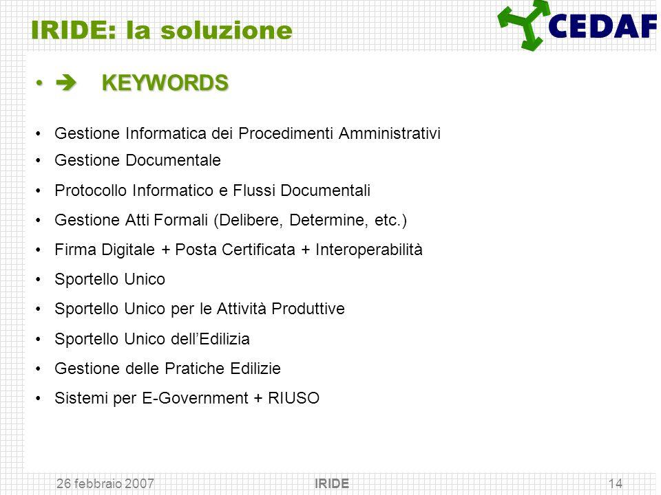 26 febbraio 2007 IRIDE14 IRIDE: la soluzione KEYWORDS KEYWORDS Gestione Informatica dei Procedimenti Amministrativi Gestione Documentale Protocollo In