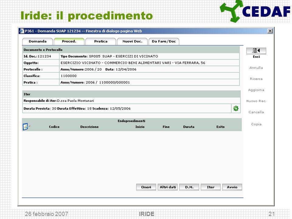 26 febbraio 2007 IRIDE21 Iride: il procedimento