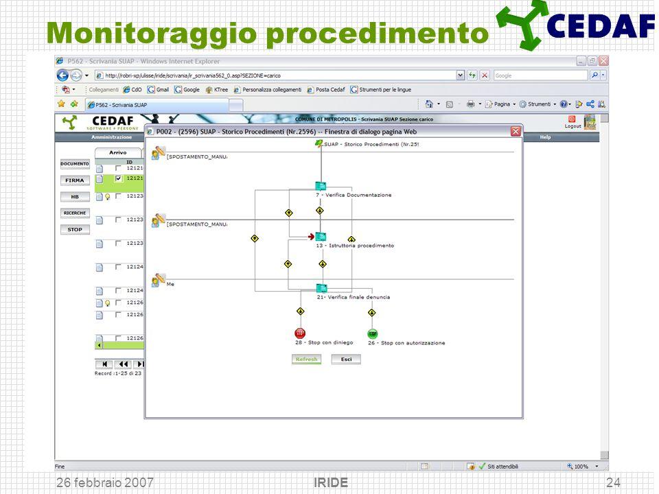 26 febbraio 2007 IRIDE24 Monitoraggio procedimento