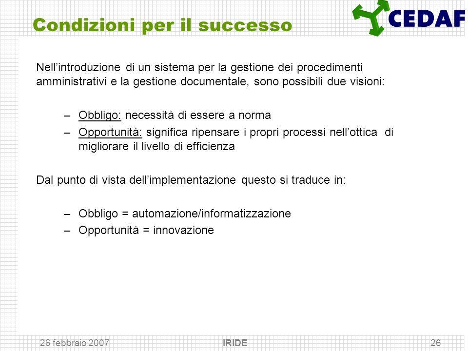 26 febbraio 2007 IRIDE26 Condizioni per il successo Nellintroduzione di un sistema per la gestione dei procedimenti amministrativi e la gestione docum