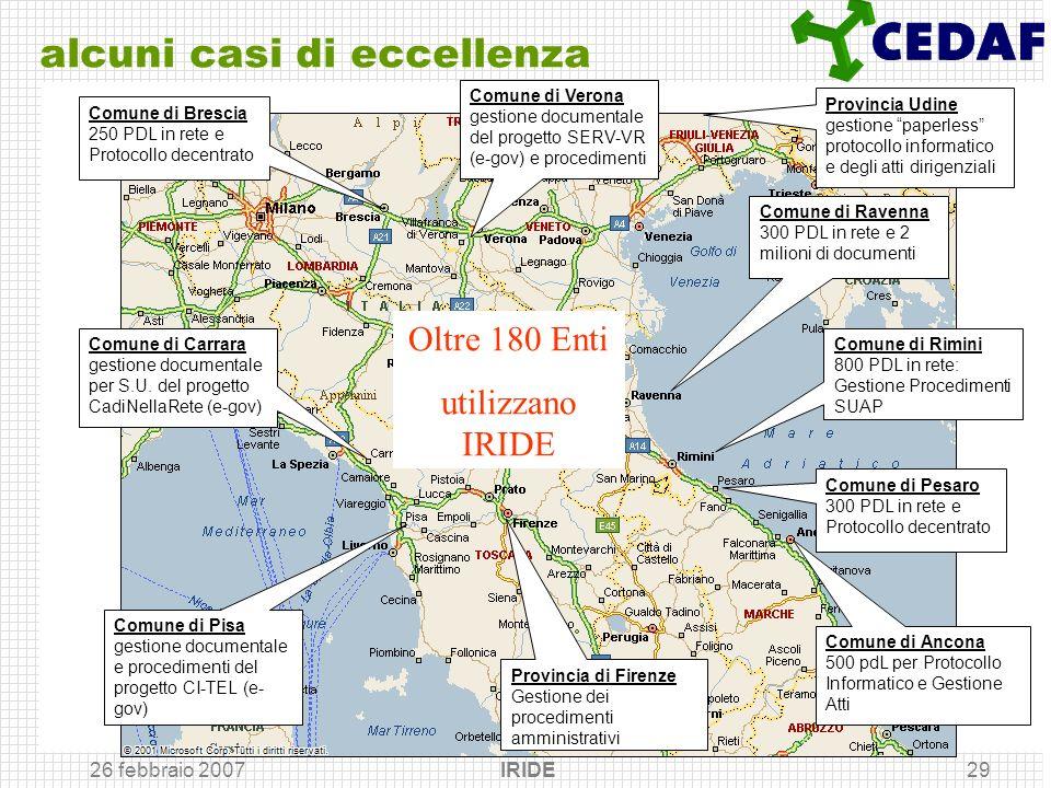 26 febbraio 2007 IRIDE29 alcuni casi di eccellenza Provincia di Firenze Gestione dei procedimenti amministrativi Comune di Rimini 800 PDL in rete: Ges