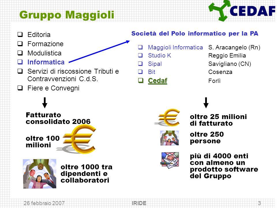 26 febbraio 2007 IRIDE3 Gruppo Maggioli Editoria Formazione Modulistica Informatica Servizi di riscossione Tributi e Contravvenzioni C.d.S. Fiere e Co