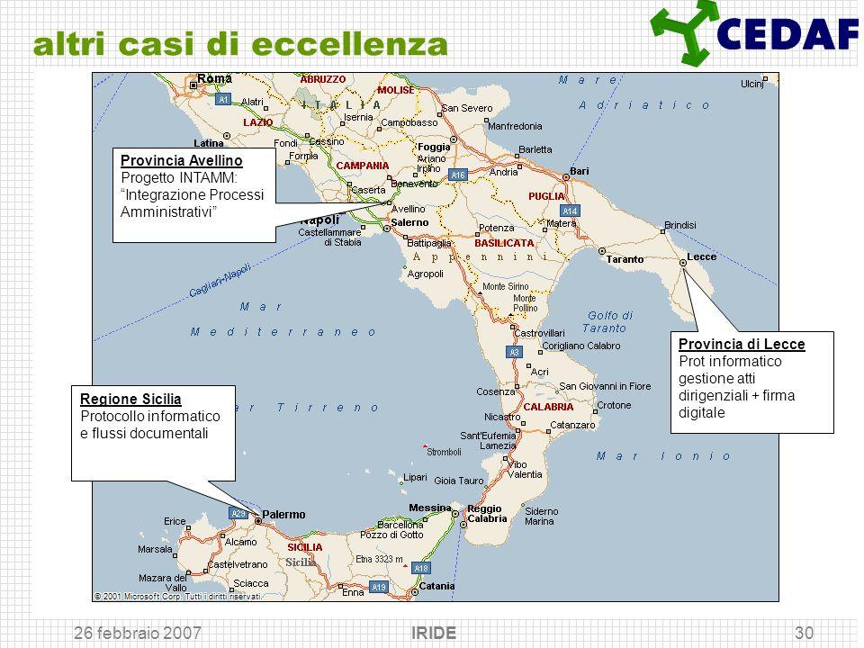 26 febbraio 2007 IRIDE30 altri casi di eccellenza Provincia di Lecce Prot informatico gestione atti dirigenziali + firma digitale Regione Sicilia Prot