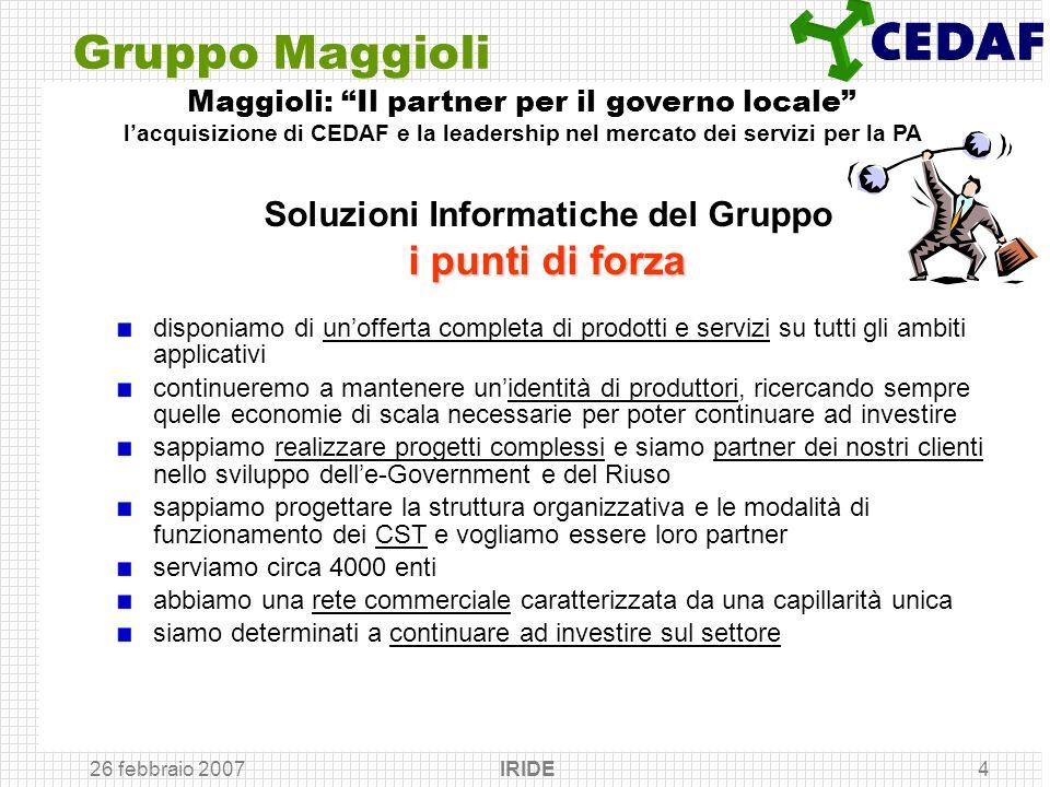 26 febbraio 2007 IRIDE4 Gruppo Maggioli disponiamo di unofferta completa di prodotti e servizi su tutti gli ambiti applicativi continueremo a mantener