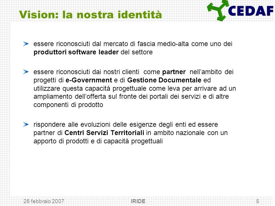 26 febbraio 2007 IRIDE5 Vision: la nostra identità essere riconosciuti dal mercato di fascia medio-alta come uno dei produttori software leader del se