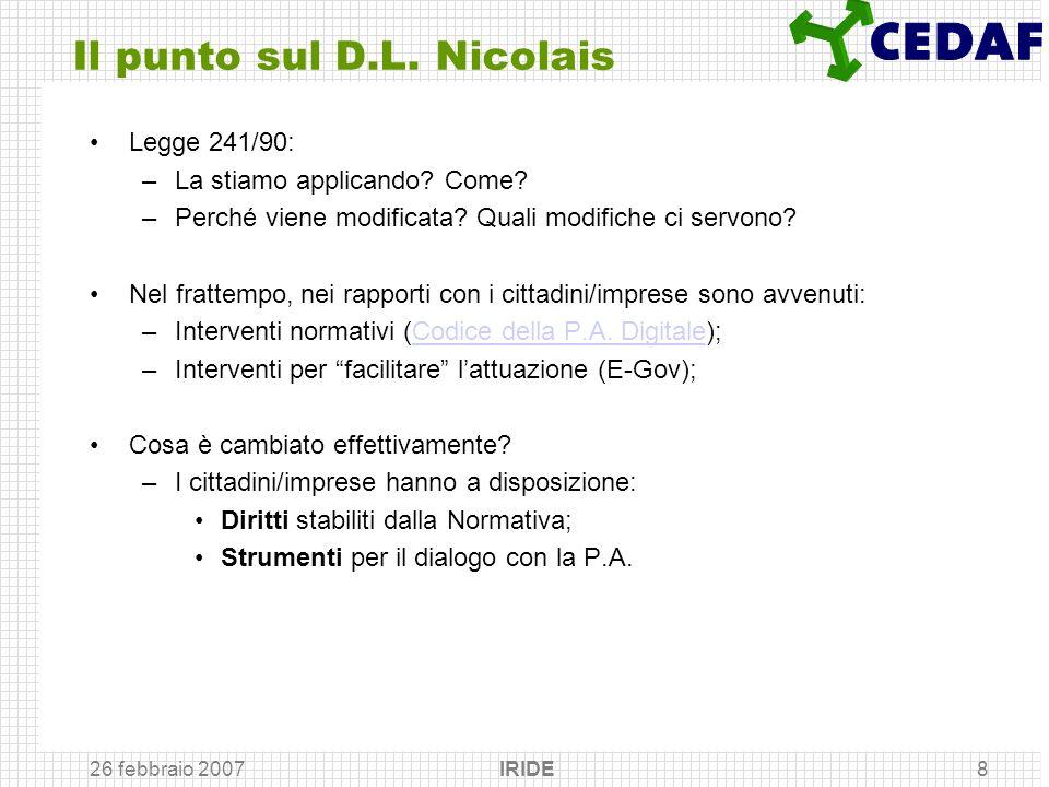 26 febbraio 2007 IRIDE8 Il punto sul D.L. Nicolais Legge 241/90: –La stiamo applicando? Come? –Perché viene modificata? Quali modifiche ci servono? Ne