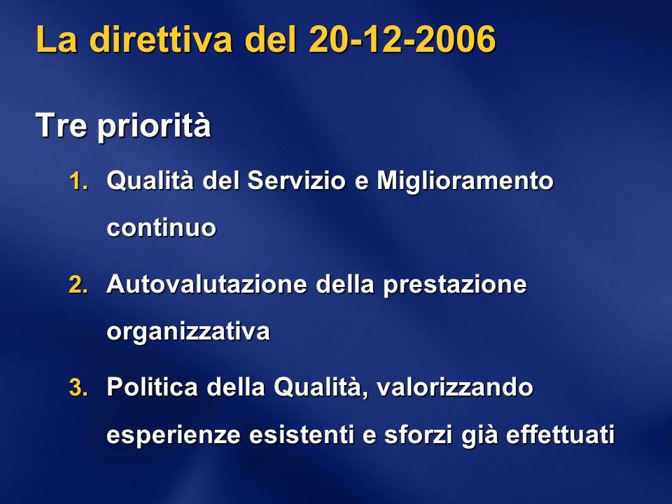 La direttiva del 20-12-2006 Tre priorità 1. Qualità del Servizio e Miglioramento continuo 2.