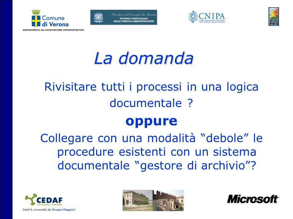 ASSESSORATO ALLINNOVAZIONE AMMINISTRATIVA Cedaf è una società del Gruppo Maggioli La domanda Rivisitare tutti i processi in una logica documentale .