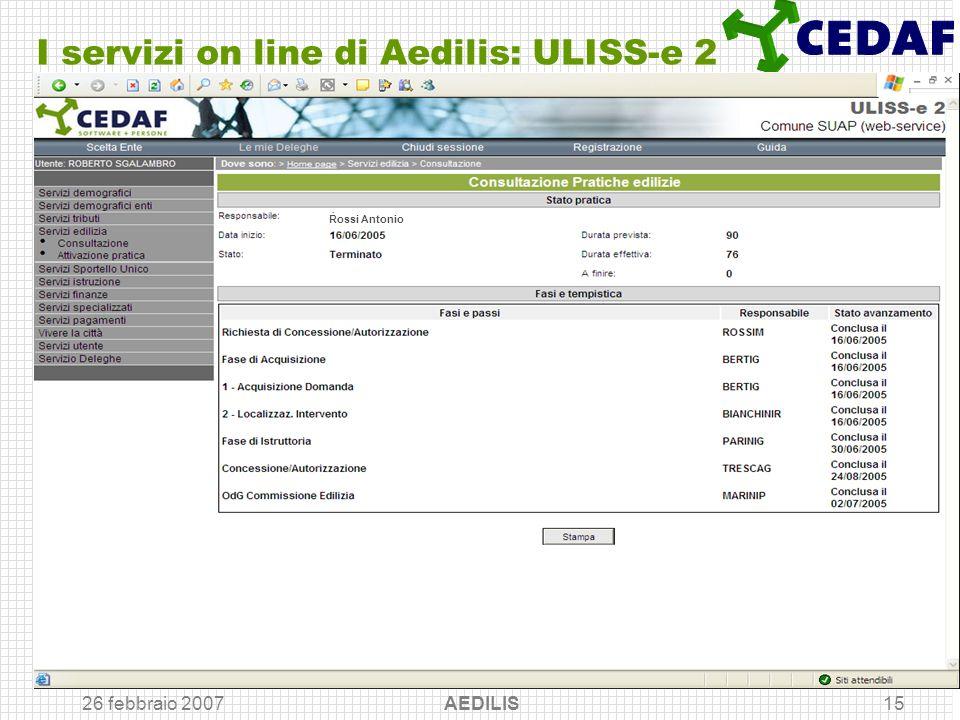 26 febbraio 2007 AEDILIS15 I servizi on line di Aedilis: ULISS-e 2 Rossi Antonio
