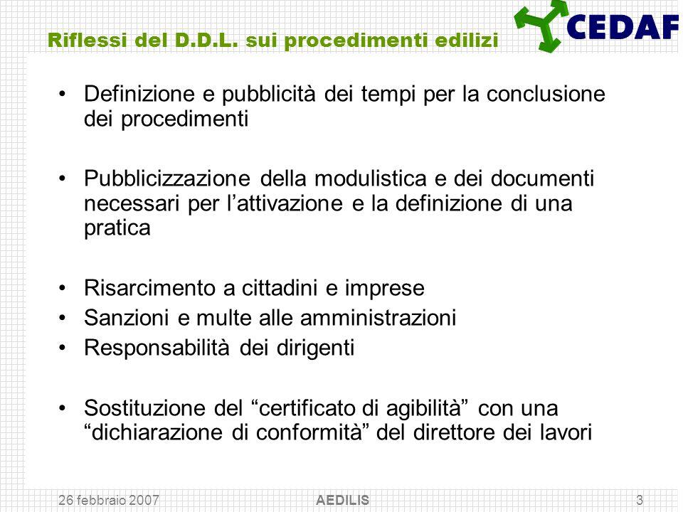26 febbraio 2007 AEDILIS3 Riflessi del D.D.L. sui procedimenti edilizi Definizione e pubblicità dei tempi per la conclusione dei procedimenti Pubblici