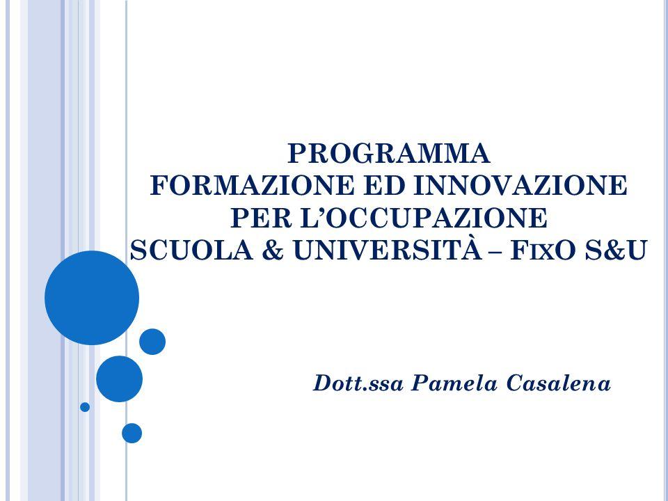 PROGRAMMA FORMAZIONE ED INNOVAZIONE PER LOCCUPAZIONE SCUOLA & UNIVERSITÀ – F IX O S&U Dott.ssa Pamela Casalena