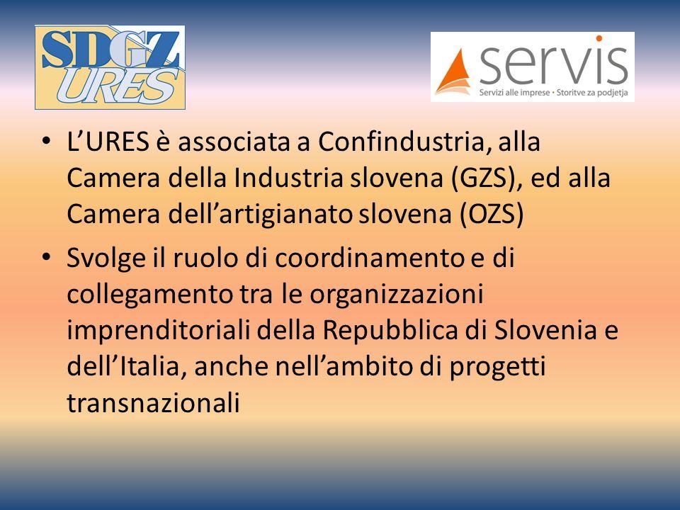 LURES è associata a Confindustria, alla Camera della Industria slovena (GZS), ed alla Camera dellartigianato slovena (OZS) Svolge il ruolo di coordinamento e di collegamento tra le organizzazioni imprenditoriali della Repubblica di Slovenia e dellItalia, anche nellambito di progetti transnazionali
