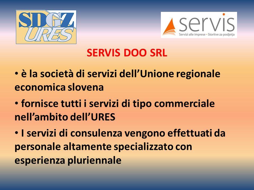 SERVIS DOO SRL è la società di servizi dellUnione regionale economica slovena fornisce tutti i servizi di tipo commerciale nellambito dellURES I servizi di consulenza vengono effettuati da personale altamente specializzato con esperienza pluriennale