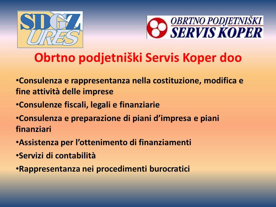 Obrtno podjetniški Servis Koper doo Consulenza e rappresentanza nella costituzione, modifica e fine attività delle imprese Consulenze fiscali, legali e finanziarie Consulenza e preparazione di piani dimpresa e piani finanziari Assistenza per lottenimento di finanziamenti Servizi di contabilità Rappresentanza nei procedimenti burocratici