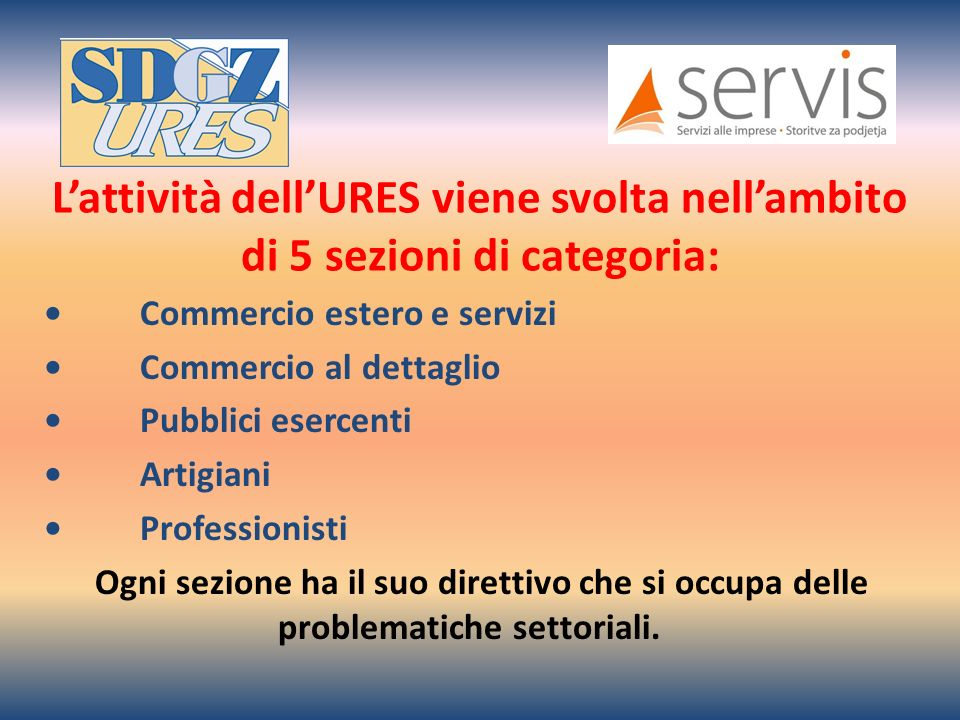 Lattività dellURES viene svolta nellambito di 5 sezioni di categoria: Commercio estero e servizi Commercio al dettaglio Pubblici esercenti Artigiani Professionisti Ogni sezione ha il suo direttivo che si occupa delle problematiche settoriali.