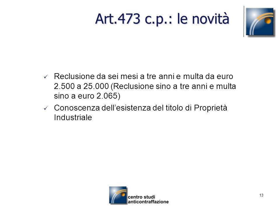13 Art.473 c.p.: le novità Reclusione da sei mesi a tre anni e multa da euro 2.500 a 25.000 (Reclusione sino a tre anni e multa sino a euro 2.065) Con
