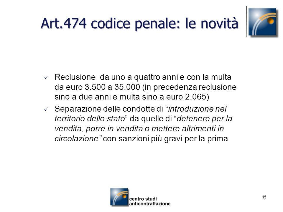 15 Art.474 codice penale: le novità Reclusione da uno a quattro anni e con la multa da euro 3.500 a 35.000 (in precedenza reclusione sino a due anni e