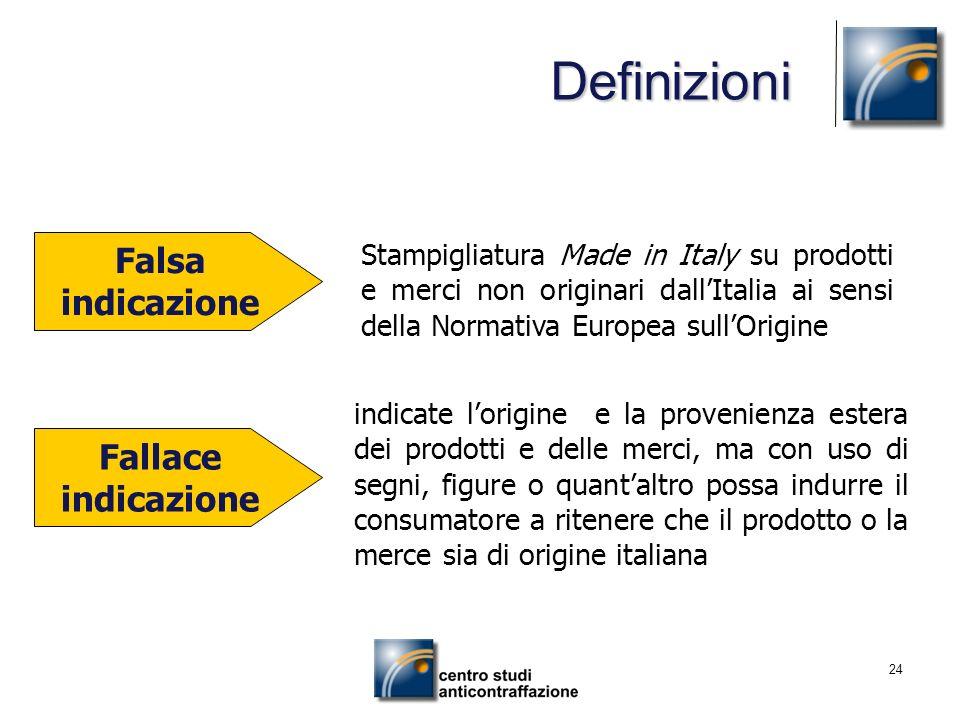 24 Falsa indicazione Stampigliatura Made in Italy su prodotti e merci non originari dallItalia ai sensi della Normativa Europea sullOrigine indicate l