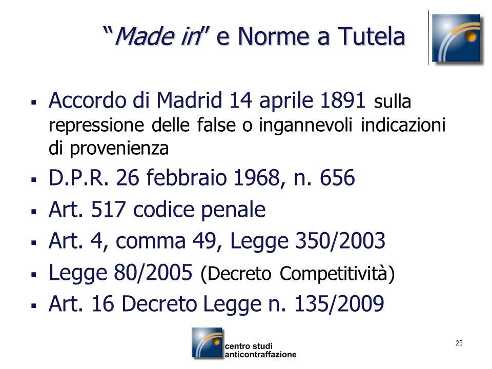 25 Made in e Norme a TutelaMade in e Norme a Tutela Accordo di Madrid 14 aprile 1891 sulla repressione delle false o ingannevoli indicazioni di proven
