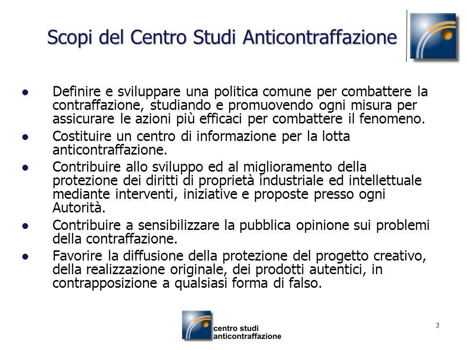 3 Scopi del Centro Studi Anticontraffazione Definire e sviluppare una politica comune per combattere la contraffazione, studiando e promuovendo ogni m