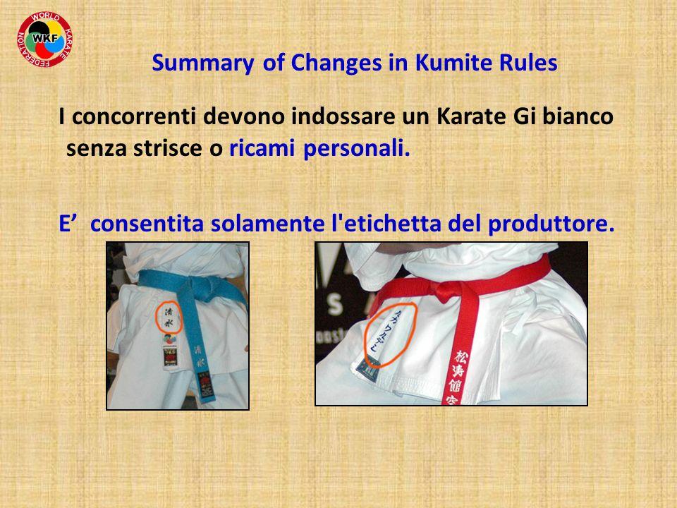I concorrenti devono indossare un Karate Gi bianco senza strisce o ricami personali. E consentita solamente l'etichetta del produttore. Summary of Cha