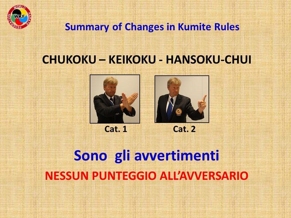 CHUKOKU – KEIKOKU - HANSOKU-CHUI Cat. 1 Cat. 2 Sono gli avvertimenti NESSUN PUNTEGGIO ALLAVVERSARIO Summary of Changes in Kumite Rules