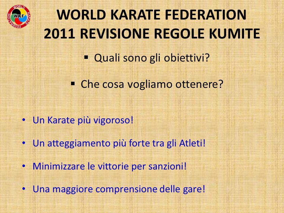 Quali sono gli obiettivi? Che cosa vogliamo ottenere? Un Karate più vigoroso! Un atteggiamento più forte tra gli Atleti! Minimizzare le vittorie per s