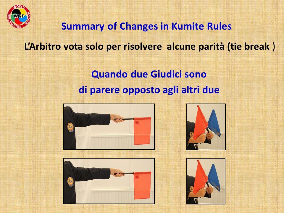 LArbitro vota solo per risolvere alcune parità (tie break ) Summary of Changes in Kumite Rules Quando due Giudici sono di parere opposto agli altri du